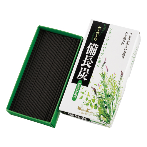 【送料込】 日本香堂 お線香 ささら備長炭 リラックスハーブ バラ詰 ×60個セット