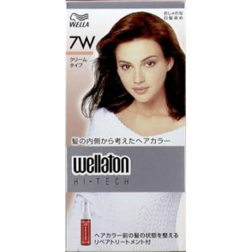 【送料込・まとめ買い×24個セット】 ウエラトーン ハイテック クリーム 7W 暖かみのある明るい栗色 医薬部外品 白髪染めヘアカラー 女性用 1個