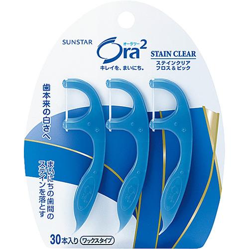 サンスター オーラ2 オーラツー ステインクリア フロス&ピック 30本入 ×60個セット 【歯垢を落とす】