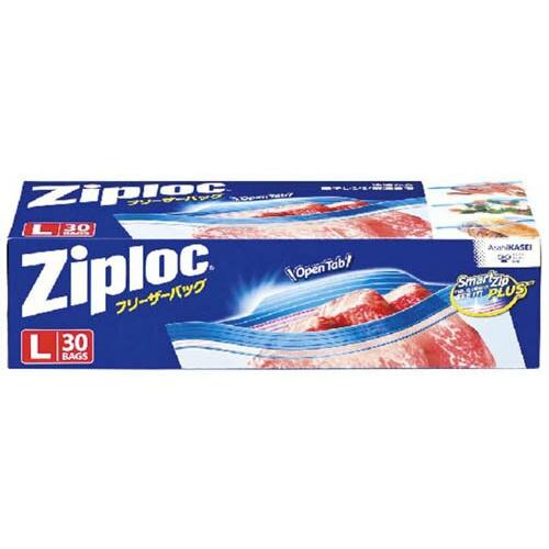 【送料込】 旭化成 ジップロック フリーザーバッグ L ダブルジッパー 30枚入 ×12個セット (食品保存袋・ジップロック・キッチン用品)