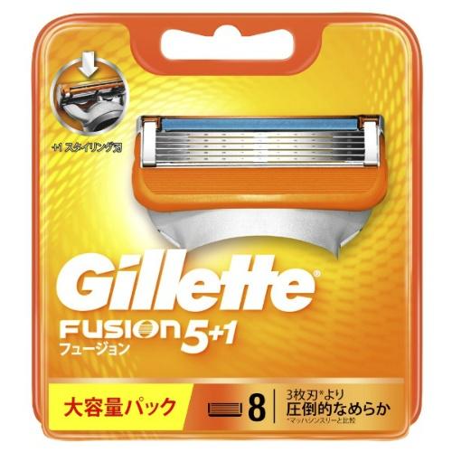 トレンド 高性能5枚刃で肌が切れにくい 4902430698856 メール便送料無料 好評受付中 ジレット 8個入 1個 フュージョン5+1 替刃