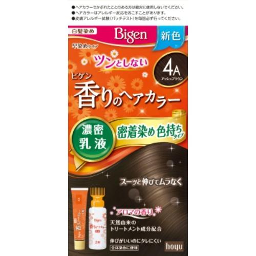 ホーユー ビゲン 香りのヘアカラー 乳液 4A アッシュブラウン 40g+60ml ×27個セット