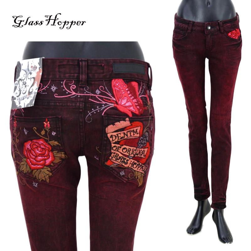 GH/GFDP658GRASS HOPPRER(グラスホッパー)薔薇ハート刺繍カラースキニーデニム ワインレッド レディース グラスホッパージーンズ【atrium102】