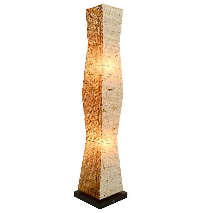 フロアライト 和紙 tree バナナ紙×麻葉唐茶 電球付属 幅210x奥行210x高さ1040mm 彩光デザイン