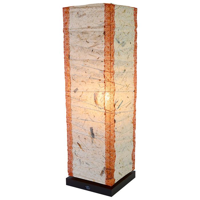 フロアライト 和紙 box バナナ紙×(角)麻葉煉瓦 電球付属 幅210x奥行210x高さ700mm 彩光デザイン