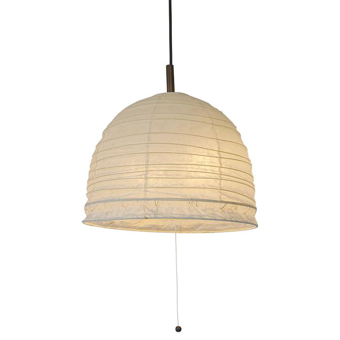 2灯 和紙 ペンダントライト bowl 楮紙茶×黒雲龍ボーダー 電球付属なし シェードサイズ 幅410x奥行410x高さ330mm 彩光デザイン
