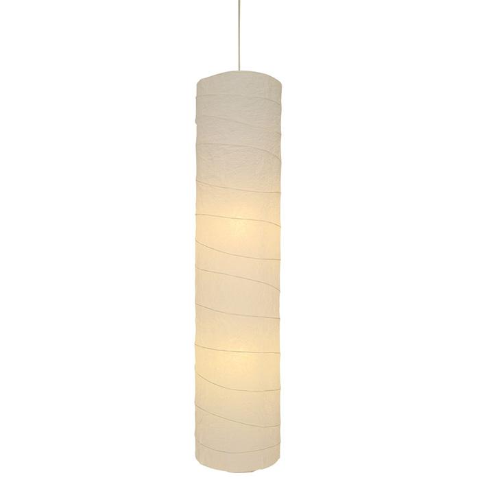2灯 和紙 ペンダントライト stick 揉み紙 電球付属なし シェードサイズ 幅280x奥行280x高さ1240mm 彩光デザイン
