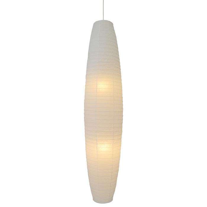 2灯 和紙 ペンダントライト larva 揉み紙N 電球付属なし シェードサイズ 幅320x奥行320x高さ1400mm 彩光デザイン
