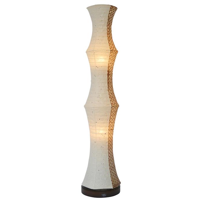 フロアライト 和紙 tower 美濃粕紙×小梅茶(1面) 電球付属 幅220x奥行220x高さ1040mm 彩光デザイン