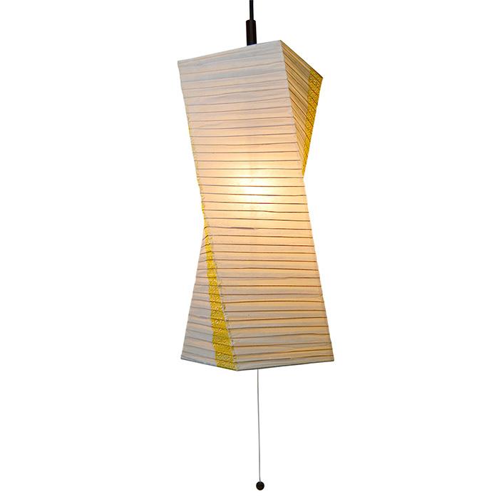 1灯 和紙 ペンダントライト twist 楮紙茶×麻葉菜種 電球付属なし シェードサイズ 幅200x奥行200x高さ550mm 彩光デザイン
