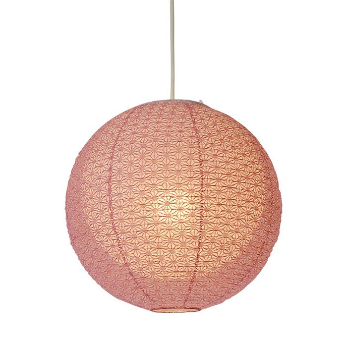 1灯 和紙 ペンダントライト bud 麻葉梅紫in春雨白 電球付属なし シェードサイズ 幅350x奥行350x高さ320mm 彩光デザイン