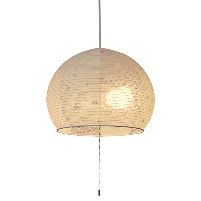 2灯 和紙 ペンダントライト poppo うさぎピンク×小梅ピンク 電球付属なし シェードサイズ 幅390x奥行390x高さ315mm 彩光デザイン