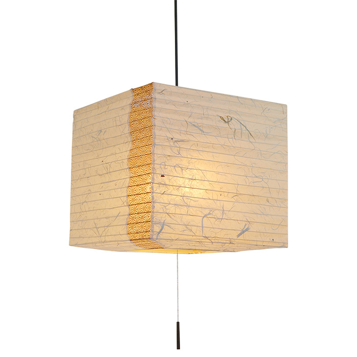 2灯 和紙 ペンダントライト cube 黒雲龍×麻葉唐茶 電球付属なし シェードサイズ 幅400x奥行400x高さ350mm 彩光デザイン