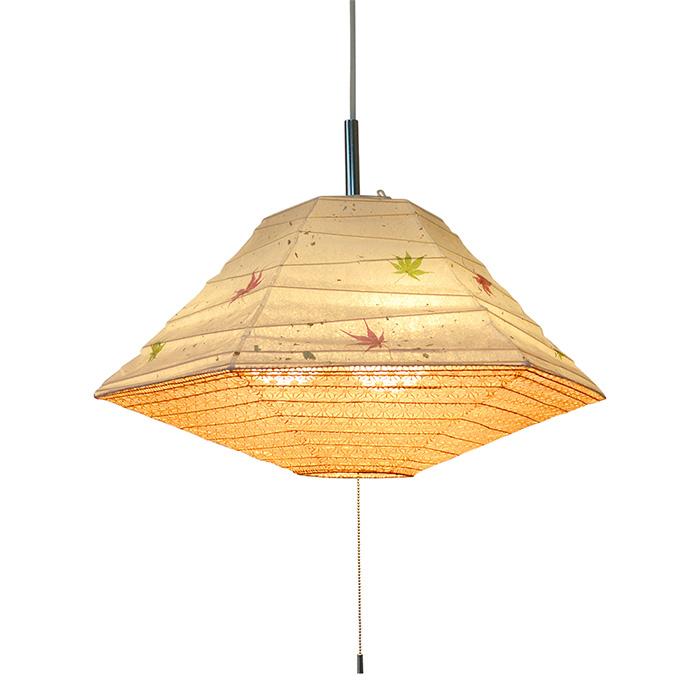3灯 和紙 ペンダントライト pyramid もみじ×麻葉煉瓦 電球付属なし シェードサイズ 幅500x奥行500x高さ270mm 彩光デザイン