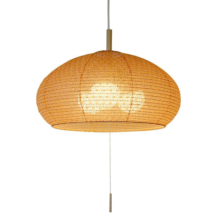 3灯 和紙 ペンダントライト dome 麻葉煉瓦 電球付属なし シェードサイズ 幅480x奥行480x高さ240mm 彩光デザイン