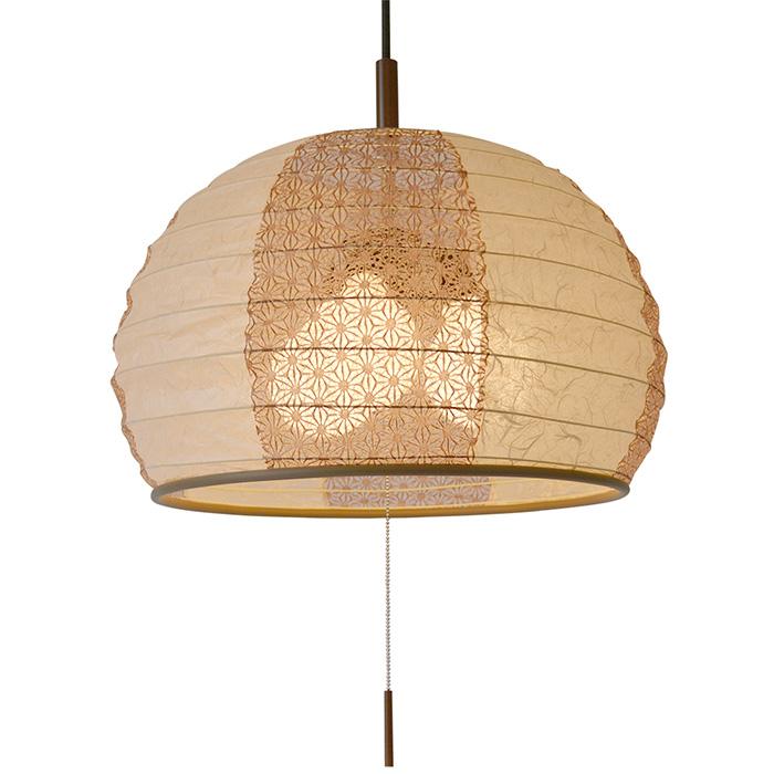 3灯 和紙 ペンダントライト igloo 雲龍ベージュ×麻葉唐茶 電球付属なし シェードサイズ 幅450x奥行450x高さ320mm 彩光デザイン
