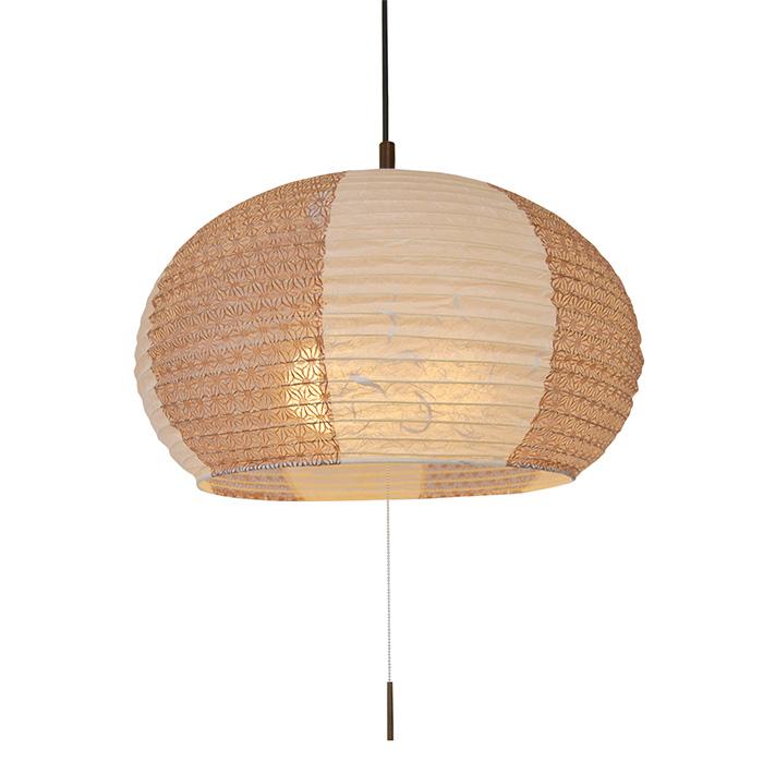 3灯 和紙 ペンダントライト swell 雲龍ベージュ×麻葉唐茶 電球付属なし シェードサイズ 幅500x奥行500x高さ350mm 彩光デザイン