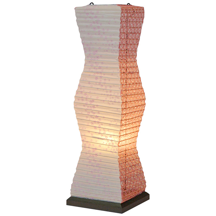 テーブルライト 和紙 twig 花舞ピンク×小梅赤 電球付属 幅140x奥行140x高さ480mm 彩光デザイン
