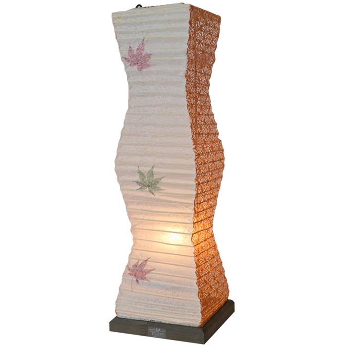 テーブルライト 和紙 twig もみじ×麻葉煉瓦 電球付属 幅140x奥行140x高さ480mm 彩光デザイン