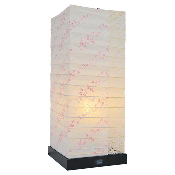 フロアライト 和紙 garden 花うさぎピンク×小梅白 電球付属 幅190x奥行190x高さ480mm 彩光デザイン