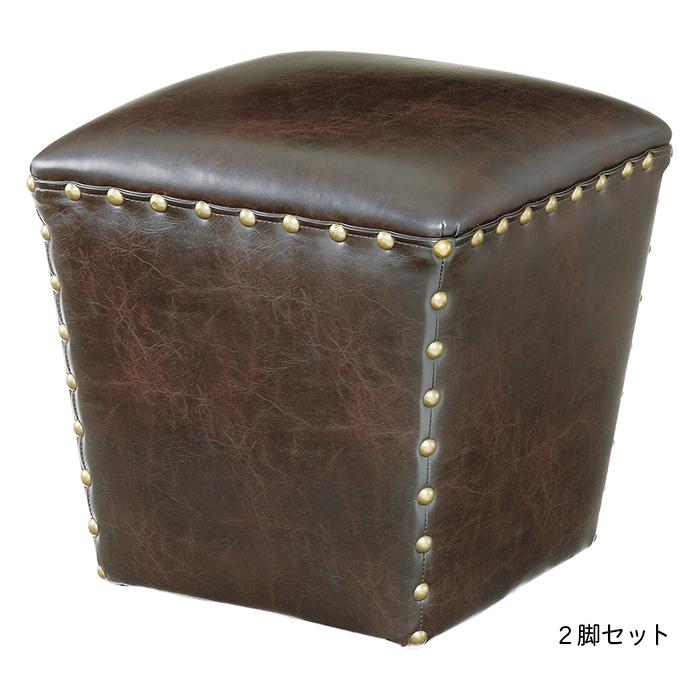椅子 2脚セット スツール IW-542LBR 幅40x奥行40x高さ41cm 東谷