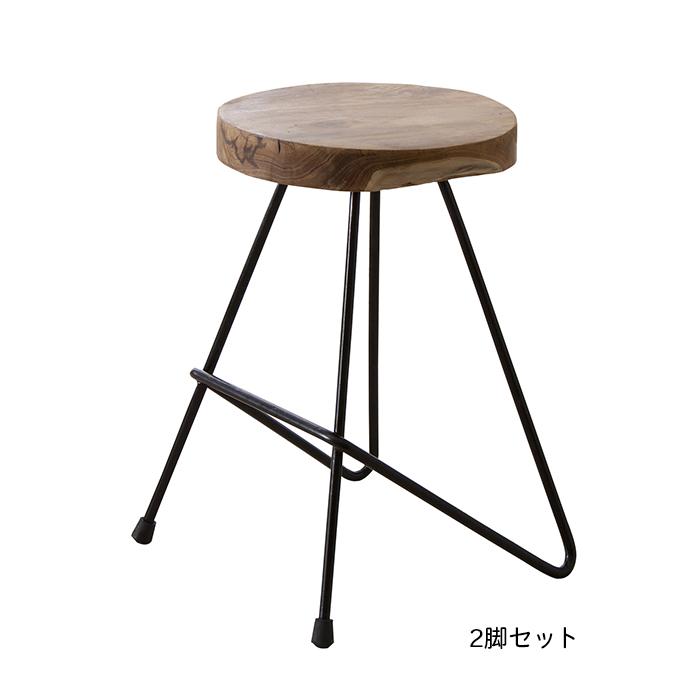 椅子 2脚セット 天然木 ラウンド スツール TTF-903A 幅34x奥行33x高さ47cm 東谷