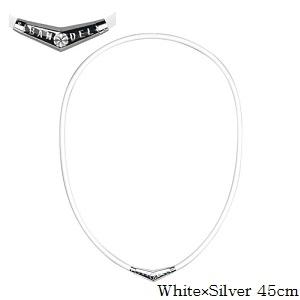 (正規品)バンデル チタン ラバー ネックレス White×Silver 45cm