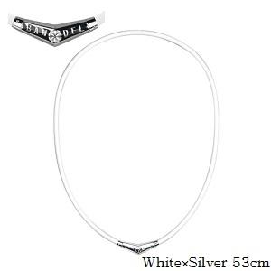 (正規品)バンデル チタン ラバー ネックレス White×Silver 53cm