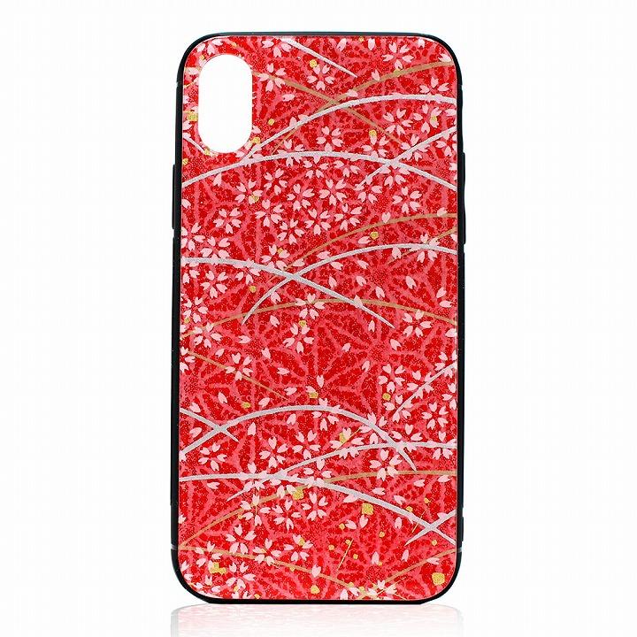 iphone x xs ケース iPhone ケース アイフォンケース 美濃和紙 日本製 桜と麻の葉 レッド 和柄 スマホケース luminio ルミニーオ tmp-1604red お祝い 2019 秋冬 新作
