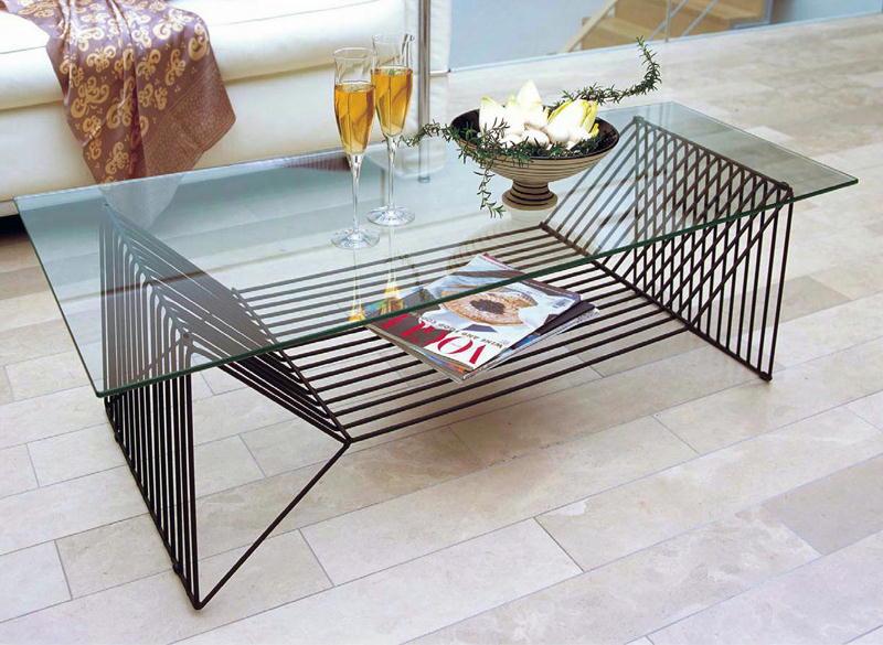 リビングテーブル ガラステーブル YG-56st 120×60/45cm 台形型天板 ブラックスチールフレーム シンプル モダン