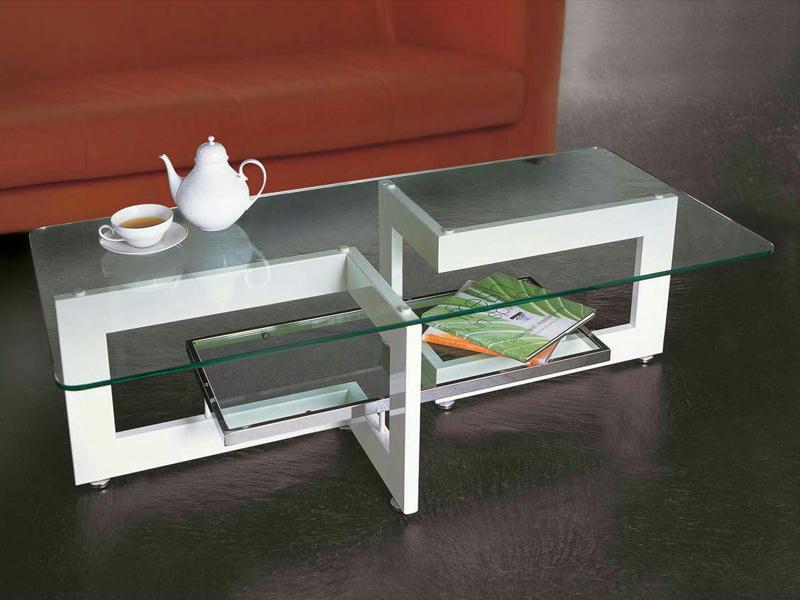 リビングテーブル ガラステーブル YG-63 122×60cm 長方形 ホワイトスチールフレーム シンプル モダン