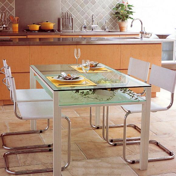 ダイニングテーブル ガラス製 DT-ダイニングテーブル W1300タイプ(天板クリアー・棚板フロスト)
