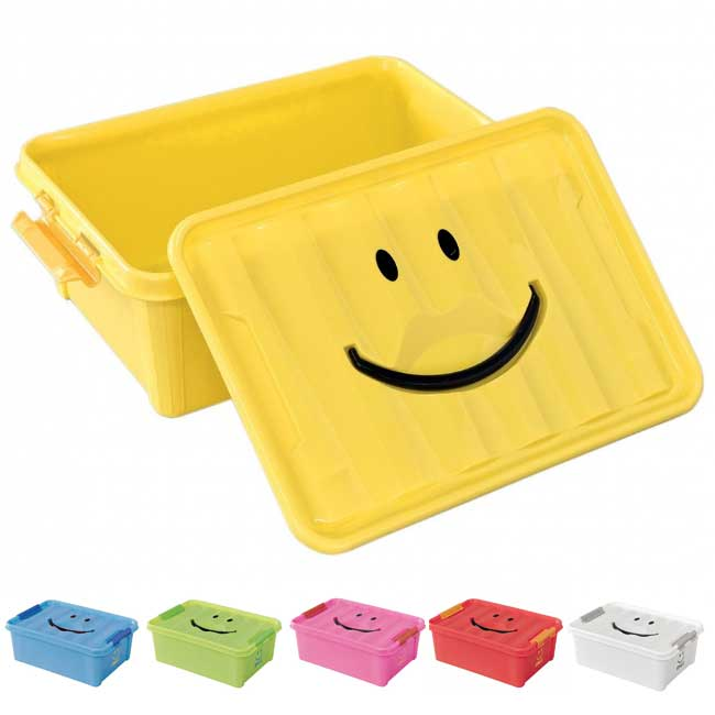 片付けが楽しくなる♪にっこり笑顔がかわいい収納コンテナ。 収納ケース 収納ボックス おもちゃ箱 スパイス スマイルボックス Sサイズ SFPT1510