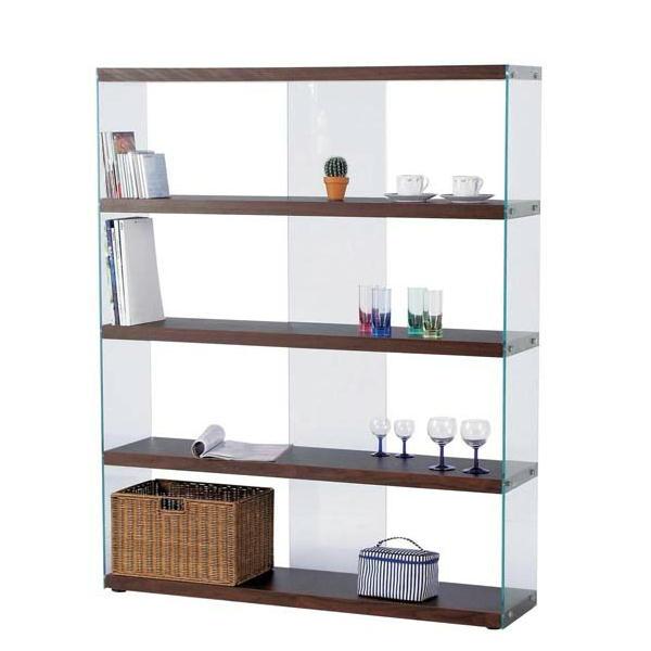 ディスプレイ棚・什器 ガラス製 HAB-625 ワイドグラスシェルフ W122cm 木+ガラス シンプルモダン