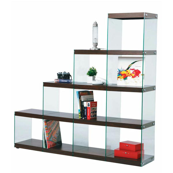 ディスプレイ棚・什器 ガラス製 HAB-703 ステアラック 木+ガラス 階段型デザイン シンプルモダン