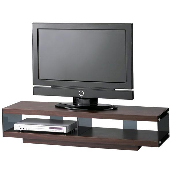TVボード W123cm キャスター付 SO-1120 木+ガラス シンプルデザイン