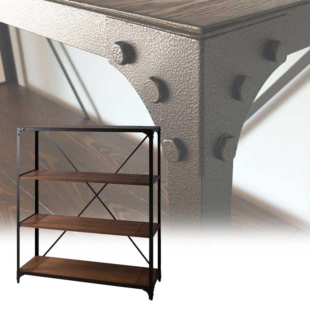 シェルフ ラック オープンラック 収納棚 ディスプレイ棚 什器 ヴィンテージラック 3段 幅120cm アンティーク調 木製 スチール