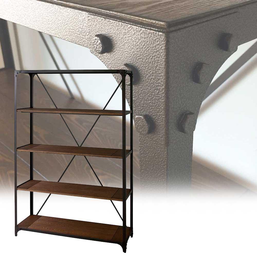 シェルフ ラック オープンラック 収納棚 ディスプレイ棚 什器 ヴィンテージラック 4段 幅120cm アンティーク調 木製 スチール
