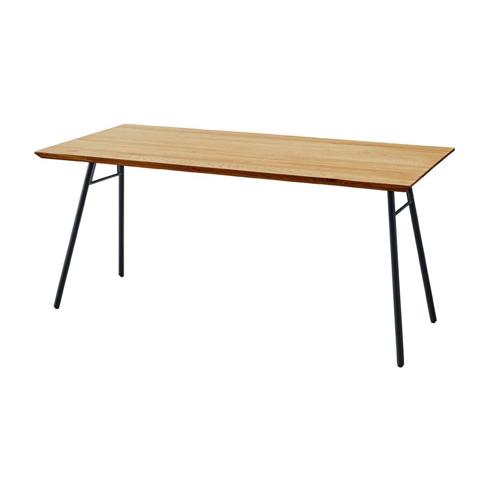 ダイニングテーブル オーク 天然木 無垢材 150×80cm スチール脚Aタイプ 長方形 4人用 北欧 シンプル モダン