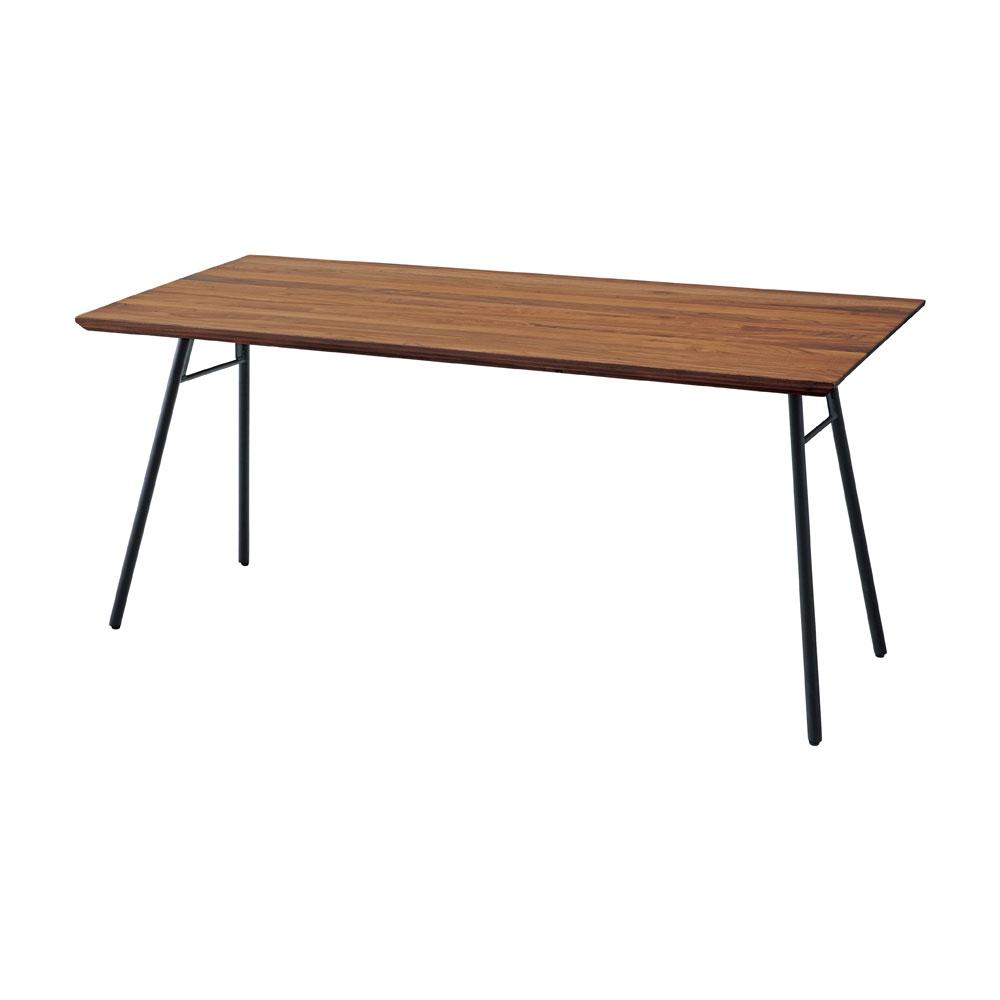 ダイニングテーブル ウォールナット 天然木 無垢材 150×80cm スチール脚Aタイプ 長方形 4人用 北欧 シンプル モダン