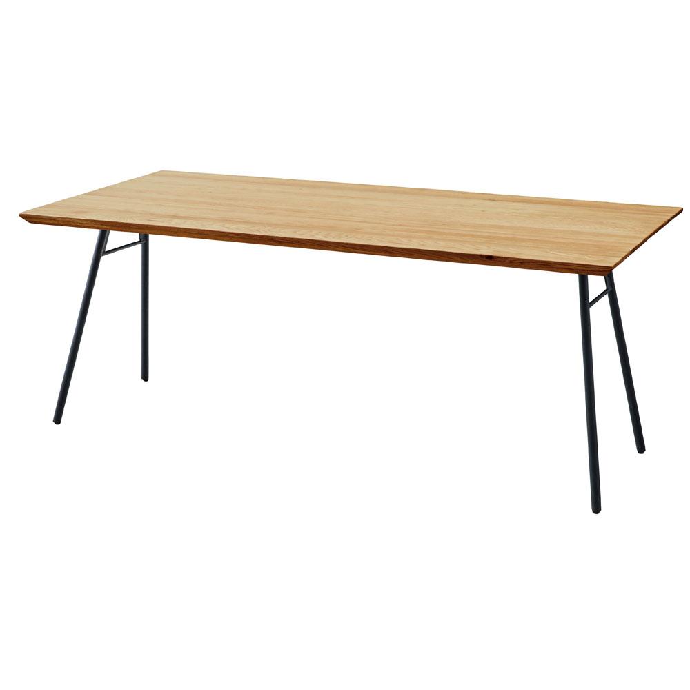 ダイニングテーブル オーク 天然木 無垢材 180×80cm スチール脚Aタイプ 長方形 4~6人用 北欧 シンプル モダン