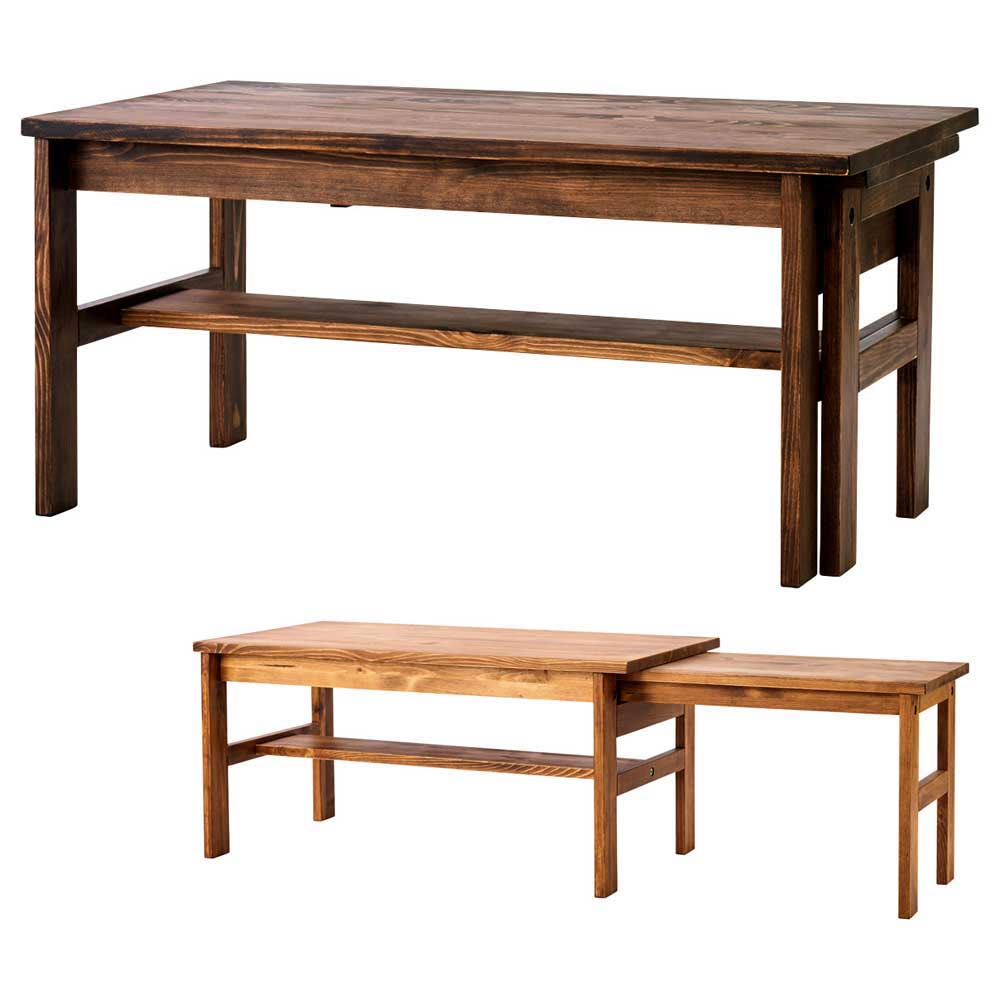 リビングテーブル センターテーブル ローテーブル 伸長式 SOME エクステンションテーブル 幅90-140cm パイン無垢材 シンプル カントリー