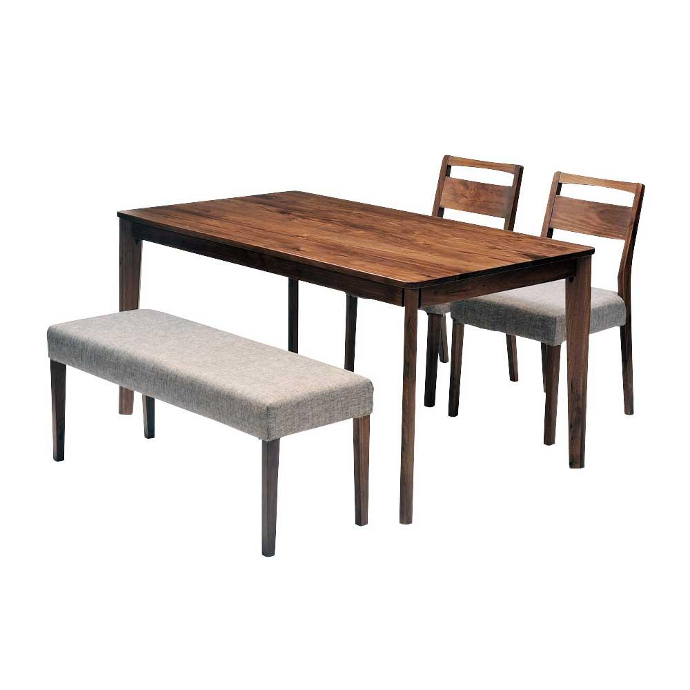 ダイニングテーブルセット ダイニング4点セット meets 140 テーブル140cm×1 チェア×2 ベンチ×1 4人用 ウォールナット無垢材 カバーリングタイプ