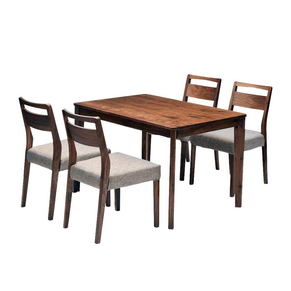 ダイニングテーブルセット ダイニング5点セット meets 110 テーブル110cm×1 チェア×4 4人用 ウォールナット無垢材 カバーリングタイプ