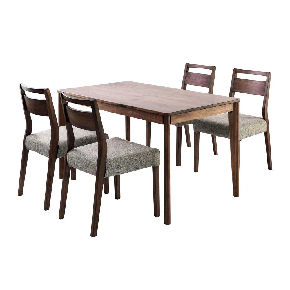 meets dining five points set 125 (table 125cm *1 chair *4 walnut innocent materials, cover ring type)