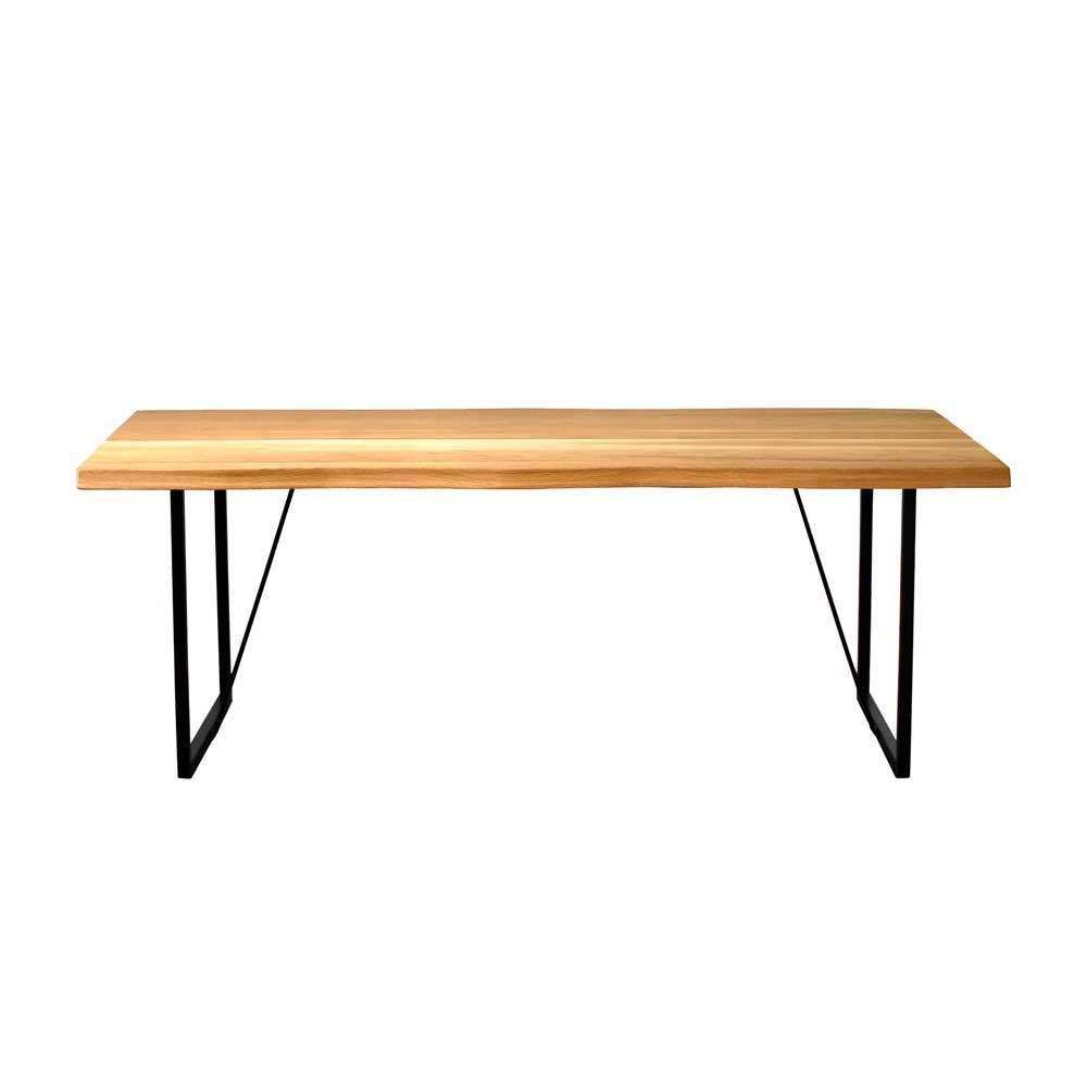 ダイニングテーブル 180cm 天然木 オーク無垢材 一枚板風 Nordic ノルディック スチール脚・木脚選択可