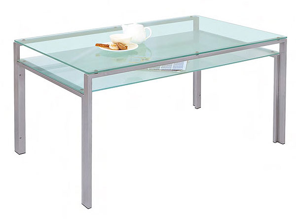 ダイニングテーブル ガラス製 DT-ダイニングテーブル W1500タイプ(天板フロスト・棚板フロスト)