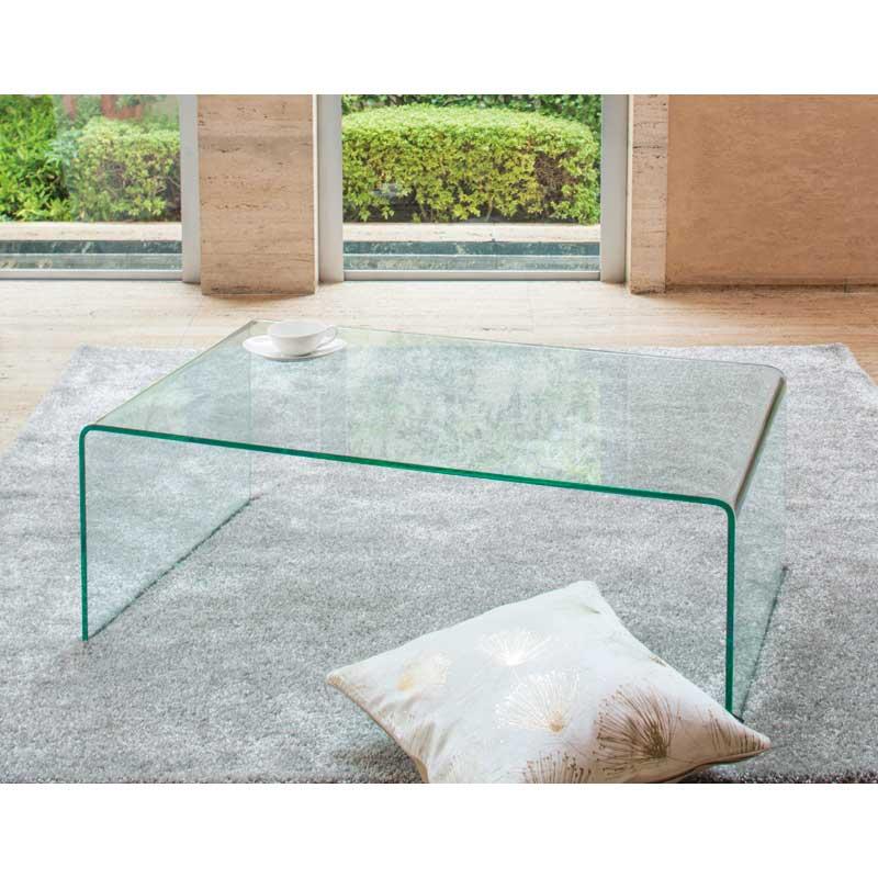 リビングテーブル ガラステーブル EC-101 100×60cm 曲げガラス シンプル モダン