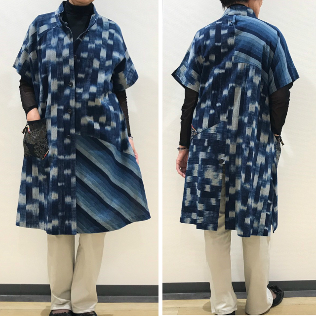 【安曇野】手づくり絣衣 藍染 ベスト