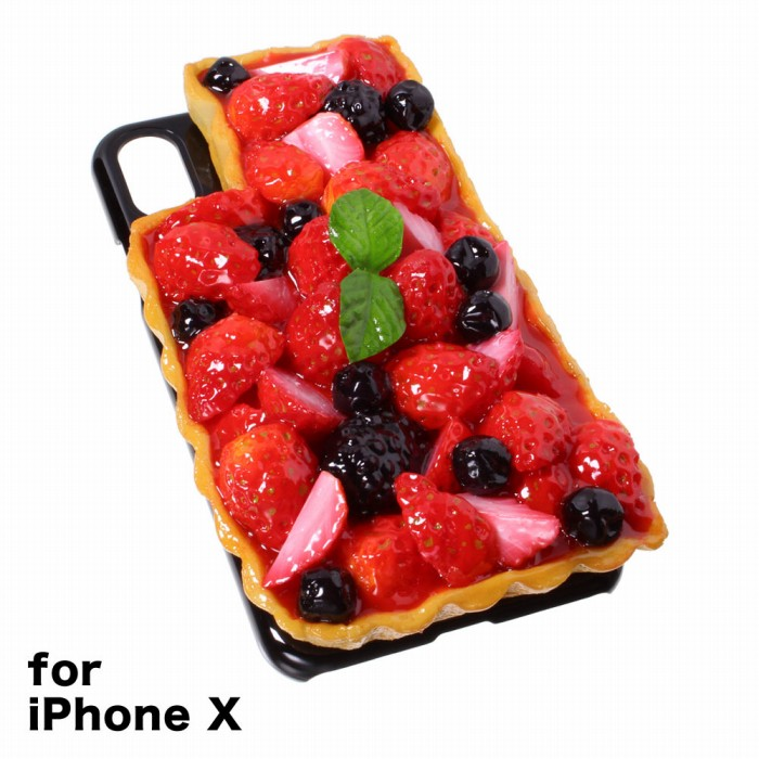 【メール便不可】食品サンプル屋さんのスマホケース(iPhone X:いちごタルト[ブラック])食品サンプル iPhone ケース カバー 雑貨 食べ物 スマートフォン